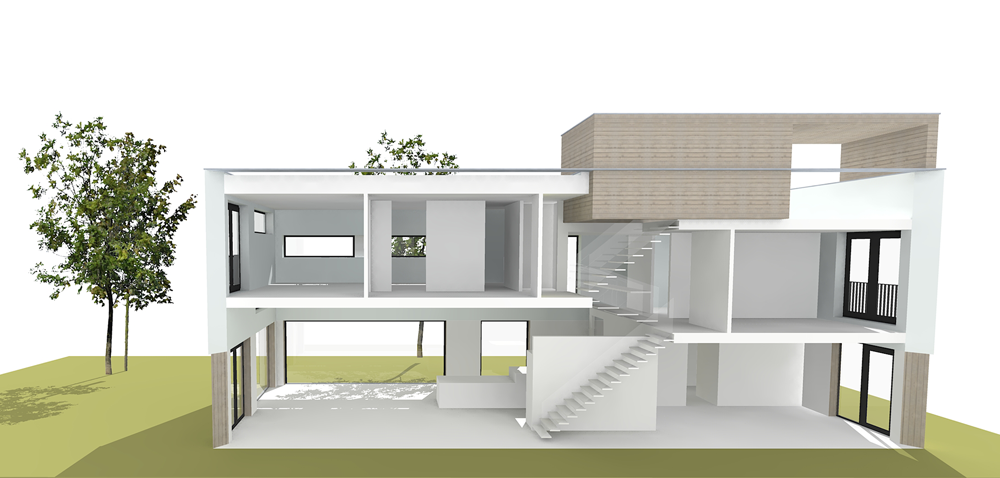 Project sls split level strip architectuurbureau project for Types of split level homes