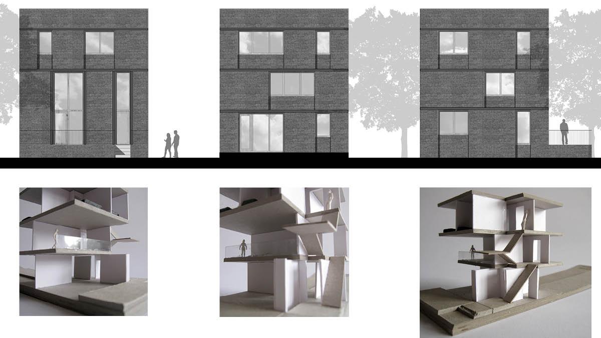 ruimtelijke ontwerpschetsen van de industriële stadswoning